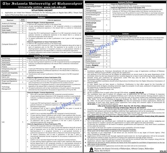 islamia-university-bahawalpur-iub-jobs-2021-apply-online-advertisement-latest