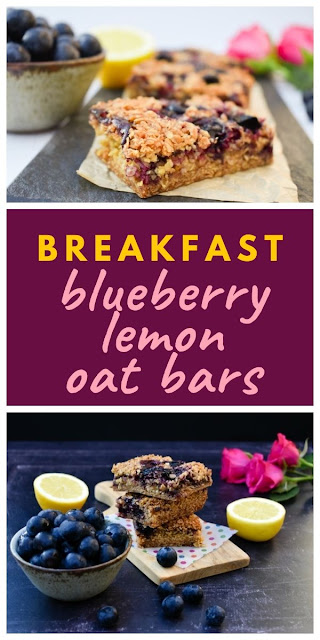 Easy blueberry and lemon oaty breakfast bars. These delicious oaty bars or flapjacks as they are known in Scotland, are perfect for breakfast on the go or a mid-morning or afternoon energy boost. Suitable for vegetarians and vegans. #breakfastbars #flapjacks #oatbars #blueberryflapjacks #blueberrybreakfastbars #blueberryoatbars #blueberryrecipes #blueberries