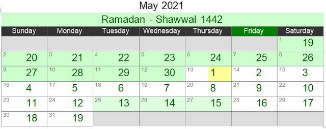 Islamic Hijri Calendar May 2021 (Ramadan - Shawwal 1442)