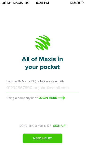 Maxis Mobile App Login Page