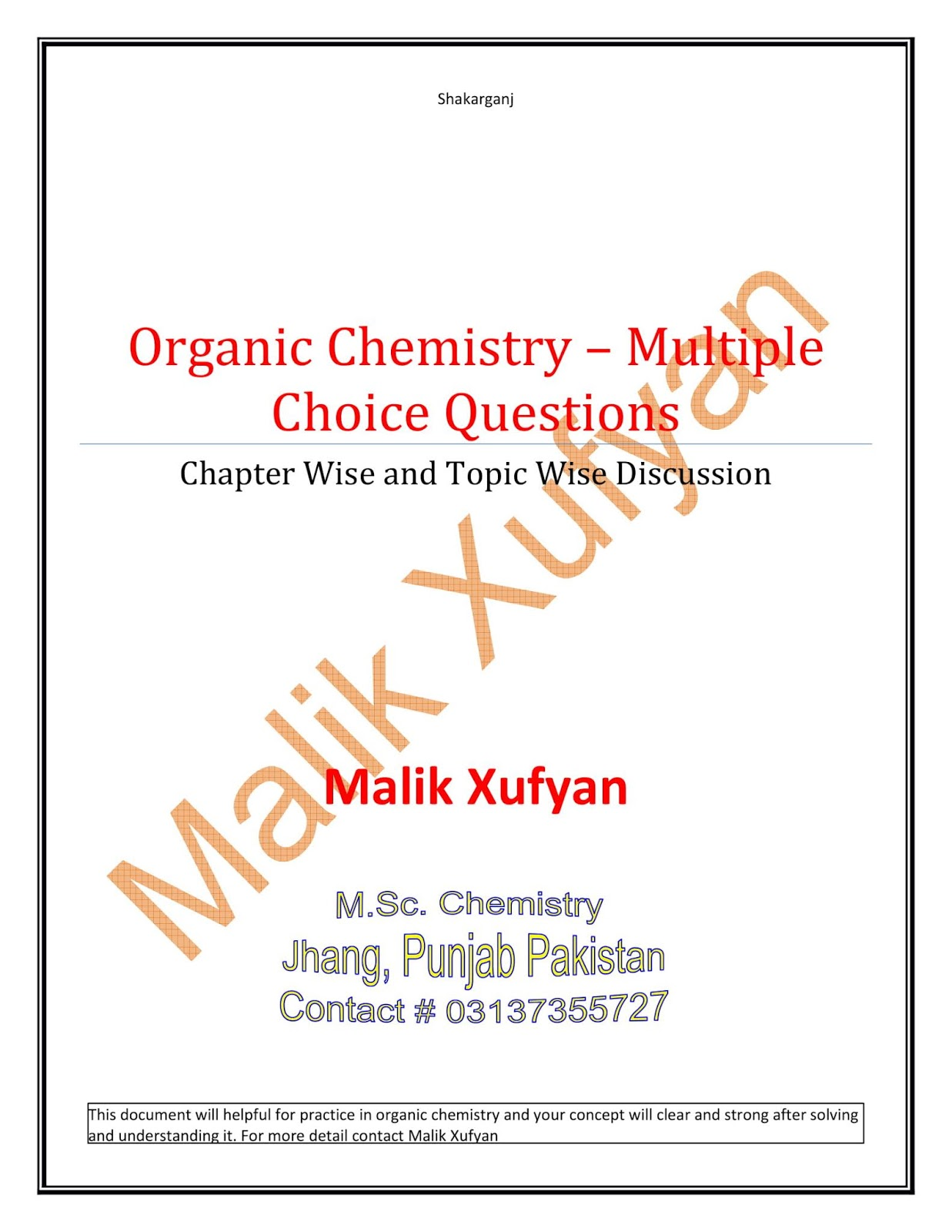Malik Xufyan- Only Chemistry Discussion: Organic Chemistry