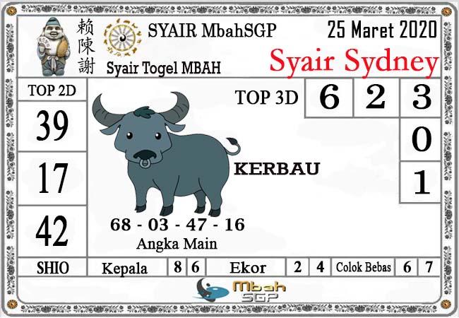 Prediksi Sidney Terjitu Rabu 25 Maret 2020 - Syair Mbah Sydney