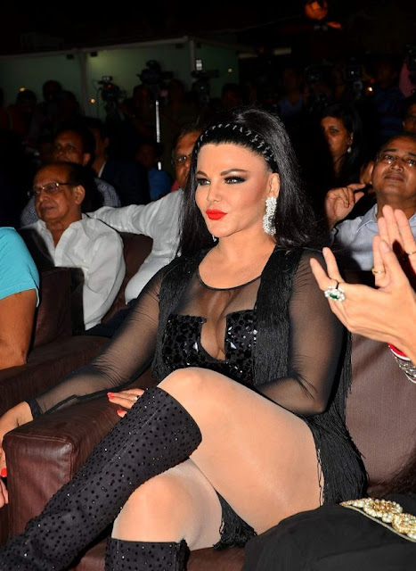 Rakhi Sawant in Black Outfit at Muhurat for Upcoming Film Upeksha