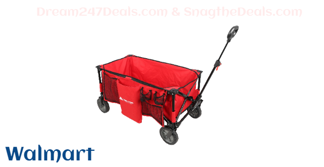 Ozark Trail Quad-Folding Wagon with Telescoping Handle, Red