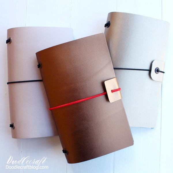 Make a refillable leather journal with Cricut metallic leather, elastic cord and metal eyelets. Great for handmade gifts, travelers and artists.