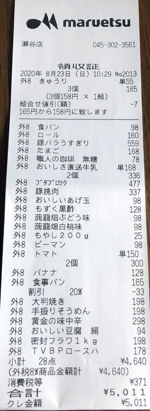 マルエツ 瀬谷店 2020/8/23 のレシート