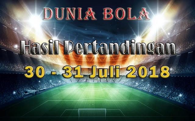 Hasil Pertandingan Sepak Bola Tanggal 30 - 31 Juli 2018