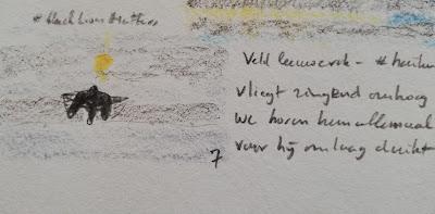 Veldleeuwerik zingend in de lucht, haiku met tekening