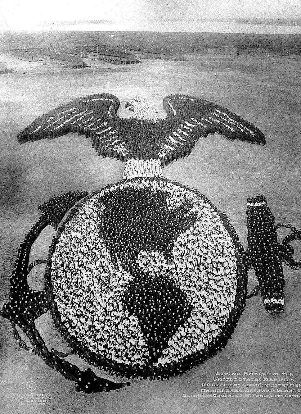 1915 USA marines in a marine emblem, a giant group aerial photograph