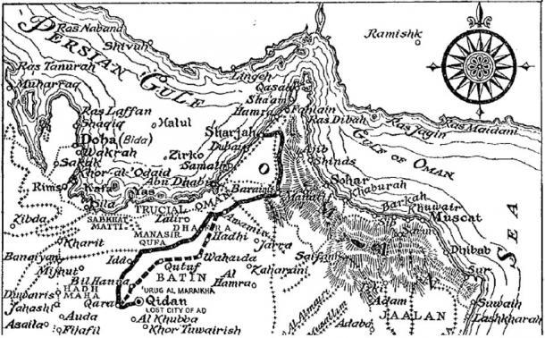 Illustrazione della mappa da 'Sand Kings of Oman' pubblicato da Methuen nel 1947.