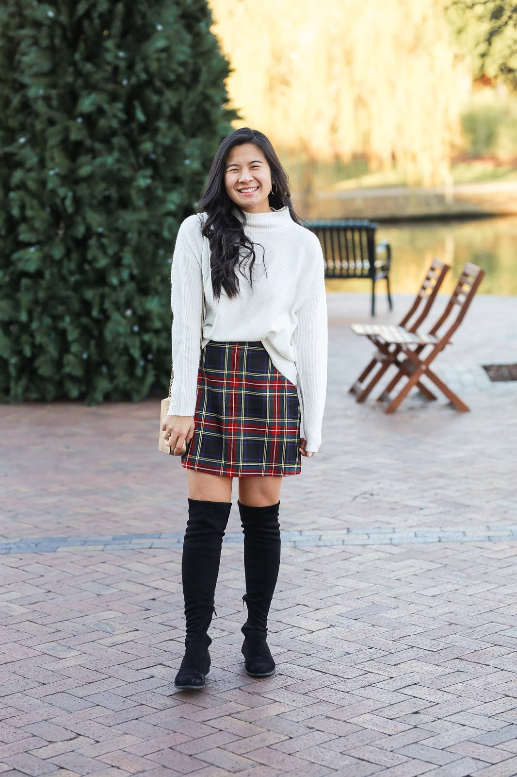 Holiday plaid skirt outfit