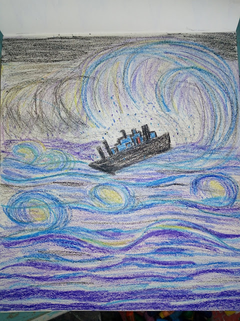 Drawing of a ship in the ocean