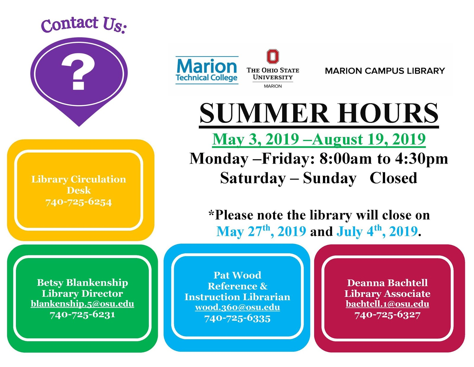 Marion Campus Library: April 2019