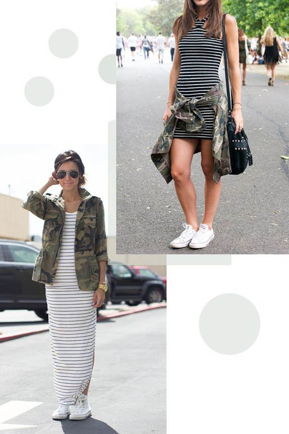 white converse, striped dress and military green jacket