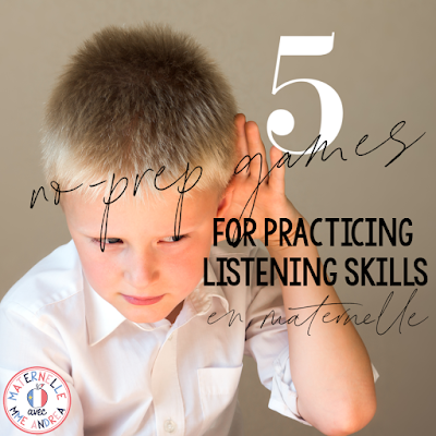 Looking for simple, no-prep ways to help develop your French primary students' listening skills? These 5 quick, simple games are a great way to help your students hear sounds before working on more complex conscience phonologique skills!
