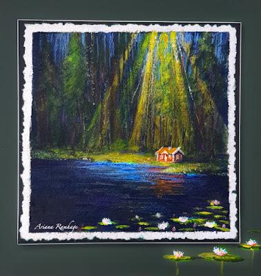 Skogen, solig glänta i mörka skogen