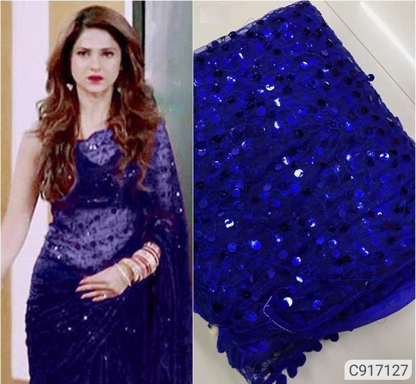 Net Embroidered and Sequin Work Regular Sarees
