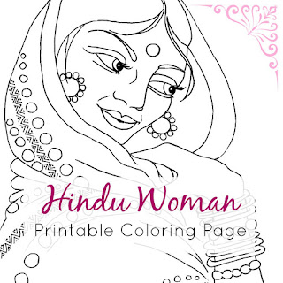 Indian Hindu Woman Printable Coloring Page