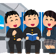 飛行機の機内のイラスト「学生たちの修学旅行」