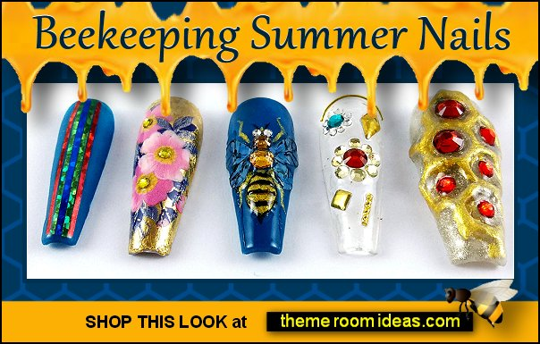 Beekeeping Summer - False Fake Press on nails bee nails - Bee nail art - bumble bee nails - black and yellow nails - honey bee nails - bee themed nails - Winnie the Pooh nail design - Winnie the Pooh nail art - bee nail decal - Queen Bee nails