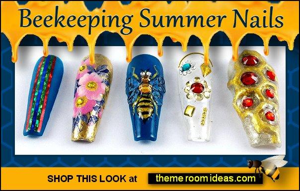 Beekeeping Summer - False Fake Press on nails bee nails - Bee nail art - bumble bee nails - black and yellow nails - honey bee nails - bee themed nails - Winnie the Pooh nail design - Winnie the Pooh nail art - bee nail decal - Queen Bee nails