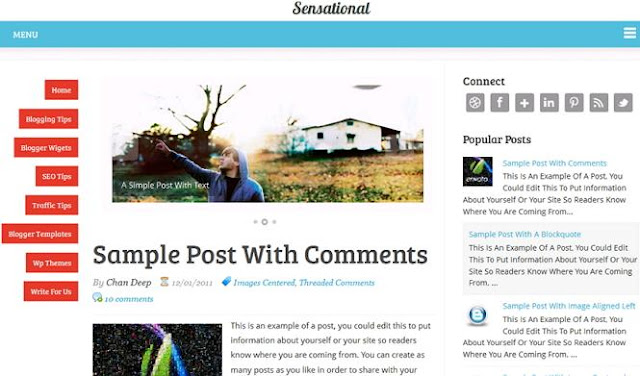 8 Sensational Is A Responsive WordPress Adapted Blogger Template