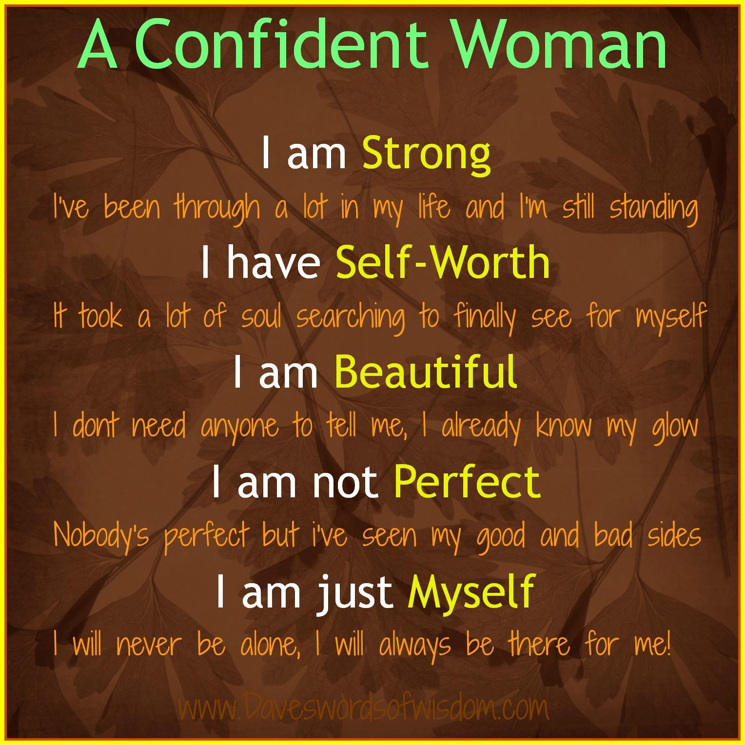 Daveswordsofwisdom.com: A Confident Woman
