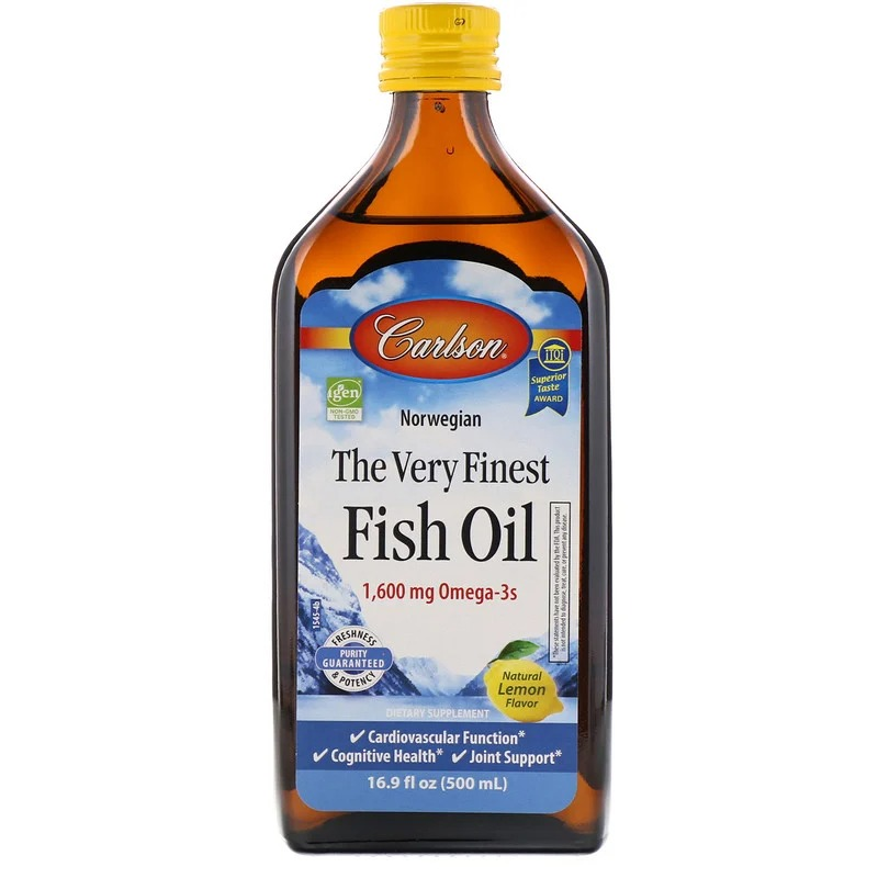 Carlson Labs, норвежская серия, самый лучший рыбий жир, натуральный лимонный вкус, 1600 мг, 500 мл (16,9 жидк. унции)