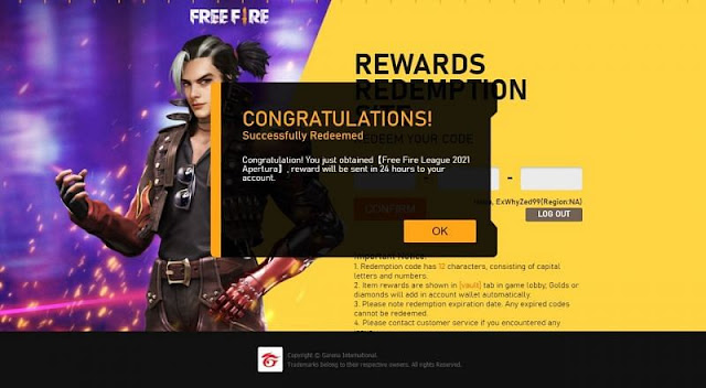 Latest Free Fire Redeem Codes 2021
