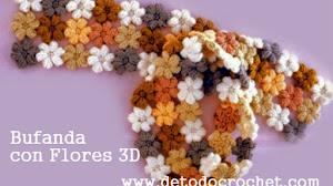 Patrones de bufanda con flores 3D al crochet / Con Video Tutorial
