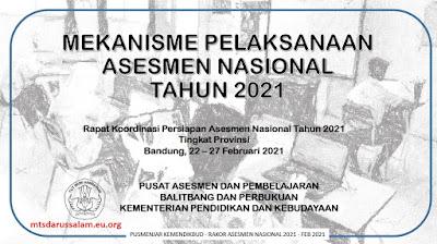 Mekanisme Pelaksanaan Asesmen Nasional Tahun 2021