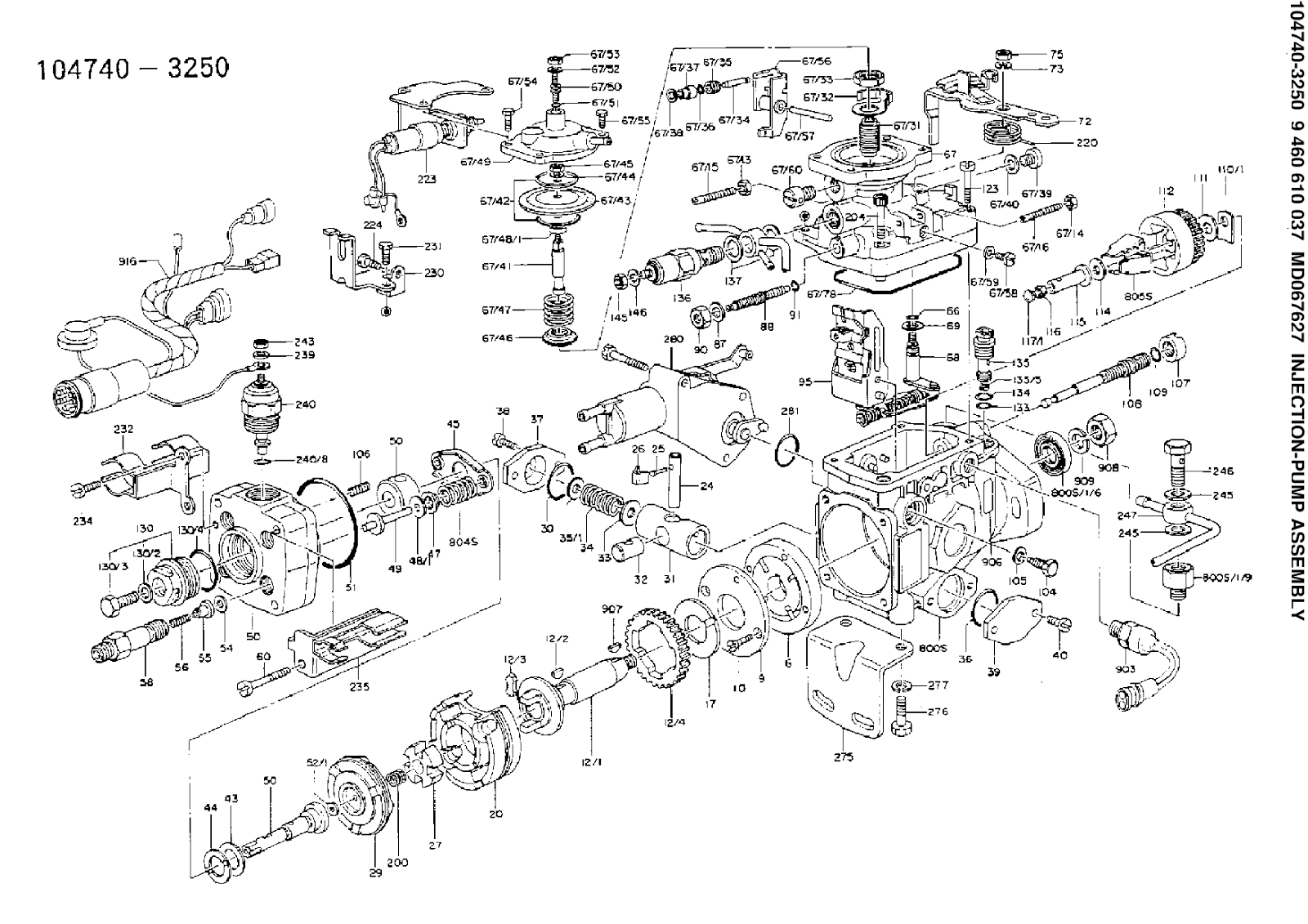 medium resolution of 9460610037 104740 3250 fuel distributor injection pump zexel