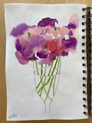Watercolour sweet peas in a champagne glass