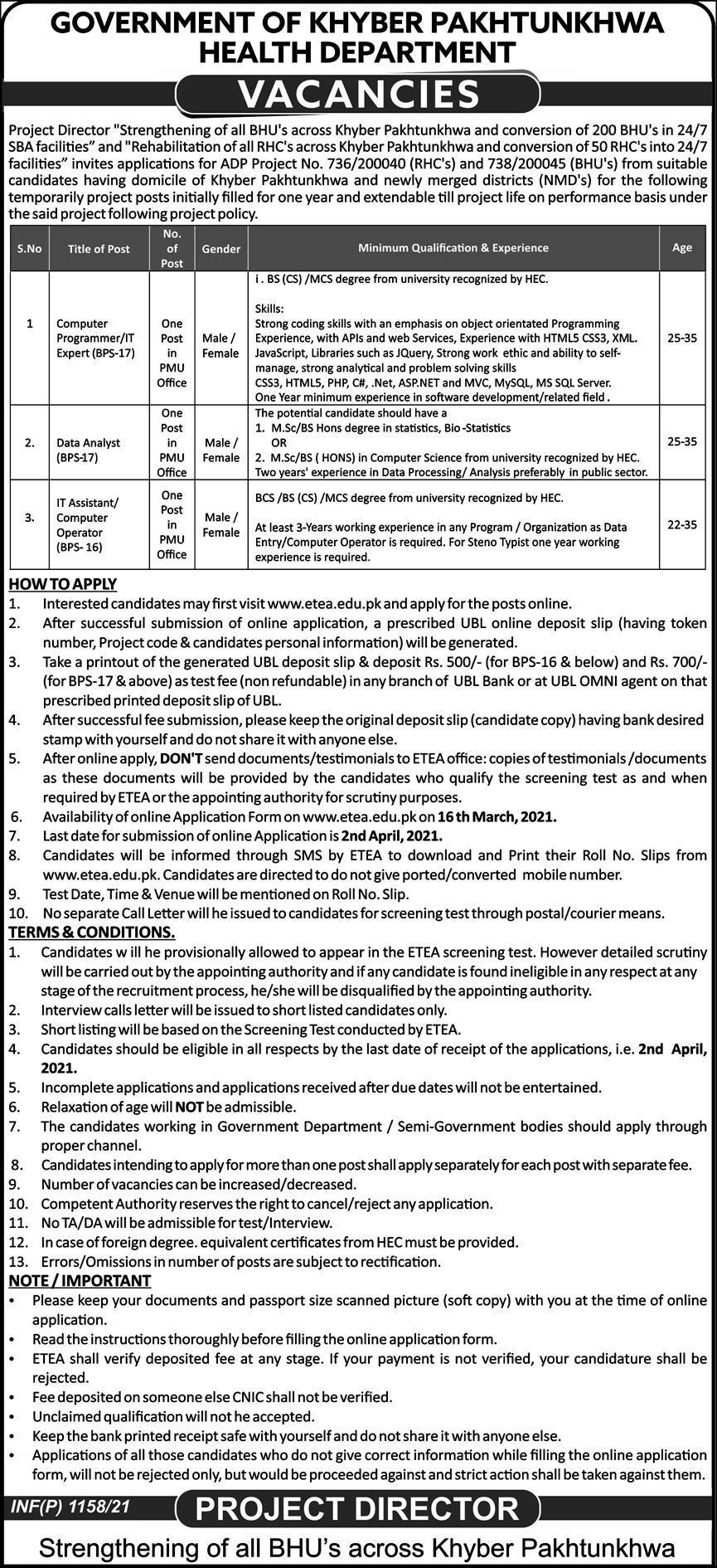 Health Department Jobs 2021 in Peshawar KPK via ETEA