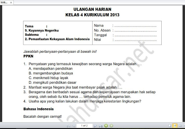 Soal Ulangan Harian Kelas 4 Tema 9 Subtema 2