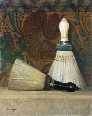 1900s brush, antique barber supply, vintage brush, original oil painting