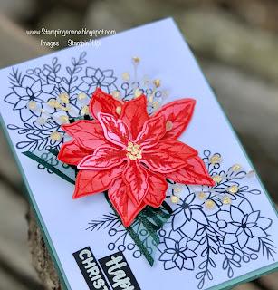 handmade poinsettia petals christmas card