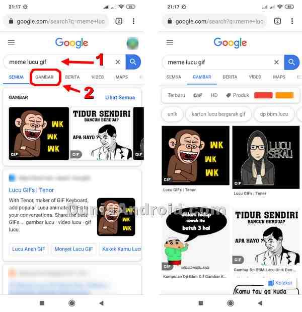 Mendownload gambar bergerak dari google