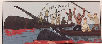 Tapettuja valaita ja hurraavia merimiehiä.