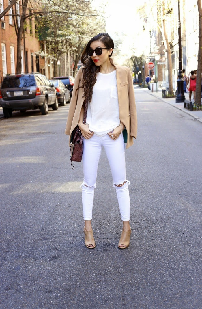 jcpstyle, jcpenney, peep toe wedge booties in tan, ripped jeans, jcp pocket tee, 31phillip lim mini pashli bag, karen walker sunglasses, fashion blog, ny fashion blog