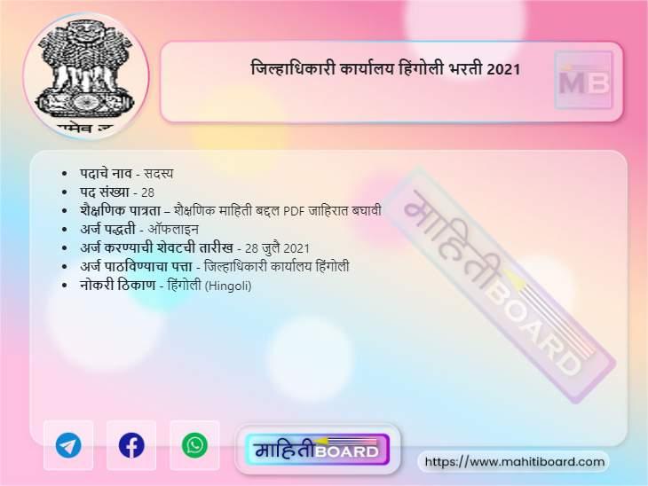 Jilhadhikari Karyalaya Hingoli Bharti 2021