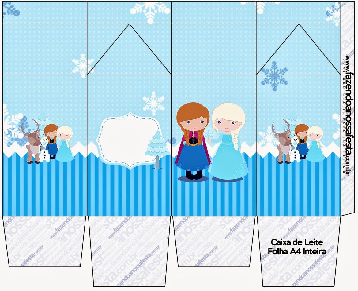 """Caja tipo """"de leche"""" de Frozen Niñas para Navidad Azul."""