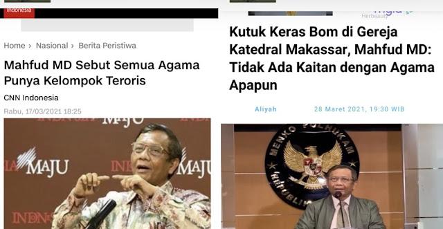 Pigai Desak Jokowi Tegur Mahfud yang Mencla-mencle Soal Agama dan Teroris