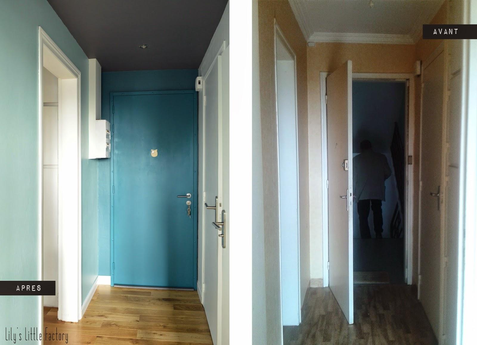 une entr e bleu canard ou mes 5 conseils pour mettre de la couleur sur vos murs lily 39 s little. Black Bedroom Furniture Sets. Home Design Ideas