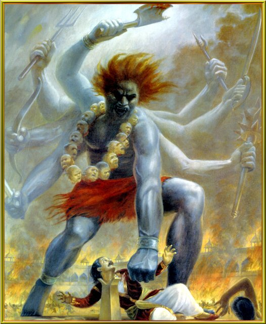 Virbhadra , born from Shiva's locks beheads Daksha