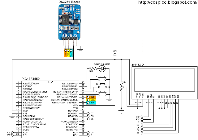 PIC18F4550 MCU and DS3231 real time clock with two alarms and temperature monitor circuit