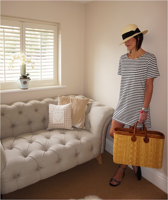 My Midlife Fashion, The Dressing Room St Albans, American Vintage Breton dress, h and m straw panama, steve madden sandals, wicker shopping basket