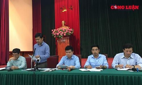 Ông Đỗ Minh Tuấn – Phó Chủ tịch UBND huyện Sóc Sơn phát biểu tại buổi họp báo
