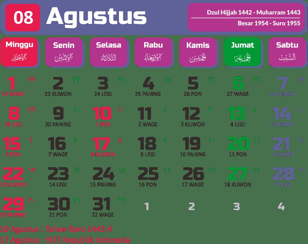Kalender 2021 Bulan Agustus Lengkap-lengkip