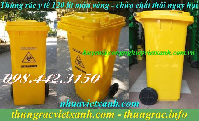 Thùng rác 120L màu vàng